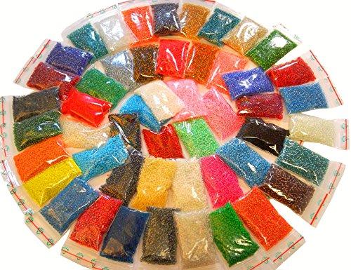 1 Kilo Rocailles 3mm 50 Pack 50 Farben Glas PERLEN Rund NEU 34000stk POSTEN AM11