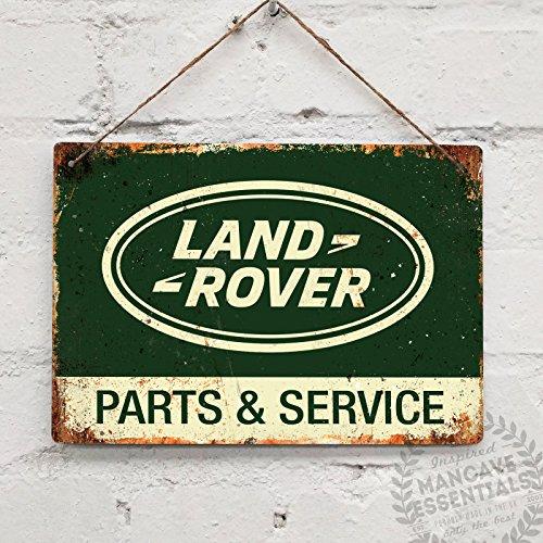 Land Rover y piezas Servicio–réplica Vintage placa metálica para la pared retrogarage cobertizo Defender, 28x20cm (Twine/String)