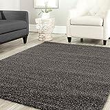 Teppich-Home Star Shaggy Teppich Farbe Hochflor Langflor Teppiche Modern für Wohnzimmer Schlafzimmer Uni Farben, Maße:70x140 cm, Farbe:Anthrazit
