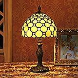8-Inch europäische Retro Stil Buntglas weiße Perlen-Serie Tischlampe Nachttischlampe Schreibtischlampe