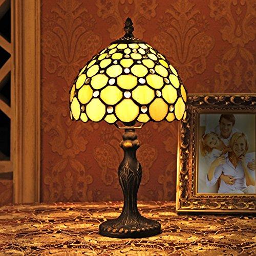 8-Inch europäische Retro Stil Buntglas weiße Perlen-Serie Tischlampe Nachttischlampe Schreibtischlampe -