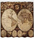 ABAKUHAUS Mappa del Mondo Tenda da Doccia, La Mappa Antica del Mondo Disegnato negli Anni 1720 Stile Nostalgico Arte, Repellente AcquaBatteri, 175 x 220 cm, Multicolore