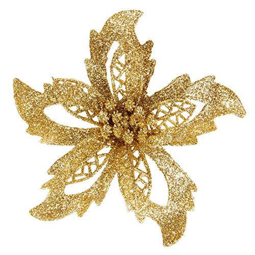 Luyue 10PCS Gold Christmas Flowers Poinsettia For Christmas Tree Wreath Ornaments,5.5 (Gold)