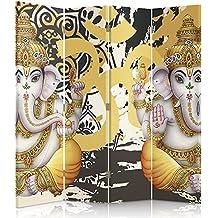 Feeby Frames Biombo impreso sobre lona, tabique decorativo para habitaciones, a una cara, de 4 piezas (145x180 cm), CULTURAS DEL MUNDO, GANESH, INDIA, ORIENTE, DIOSES, AMARILLO, BLANCO
