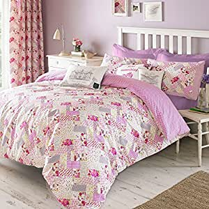 gracie patchwork bettbezug baumwolle bettw sche set von designer kirstie allsopp berry lila. Black Bedroom Furniture Sets. Home Design Ideas