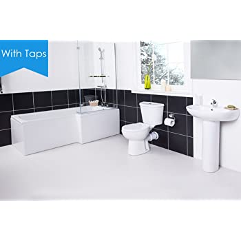 Aquariss L Shape Shower Bath Right Hand Full Bathroom Suite Toilet WC, Sink  Basin + Taps