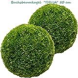 2 x 50 cm Ø künstliche Buchsbaumkugel - Thuja, Spar - Set, sehr natürlich wirkend