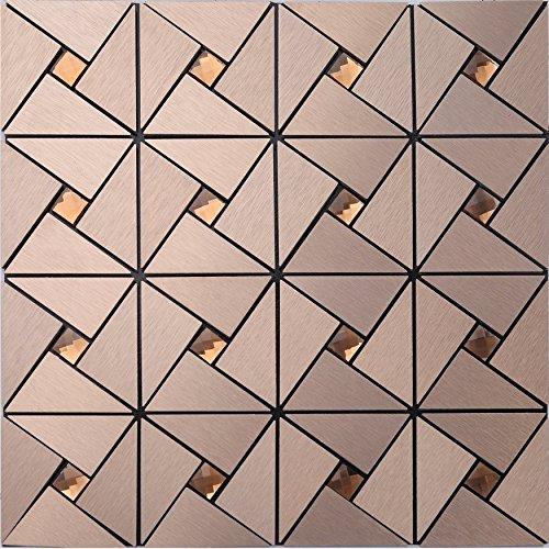 Haus Wand dekorativer Baustoff, gemeinsame selbstklebende Aluminium-Kunststoff-Panel Fliesen, 13 Facetten Diamant Glas Mix Metall Mosaik Fliesen Aufkleber, LSH21 (11 Stücke | 1㎡, H21(Bronze))