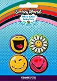 SMILEY - BADGE PACK - PACK OF 4 X 38MM BADGES - BRAND NEW