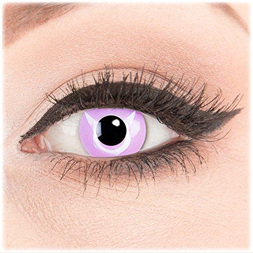 Farbige Kontaktlinsen zu Fasching Karneval Halloween 1 Paar Crazy Fun rosa violette 'Geass' mit Behälter in Topqualität von 'Glamlens' ohne Stärke
