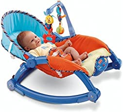 Elektra Portable Foldable Rocker and Crib for Newborns and Toddlers (Blue)