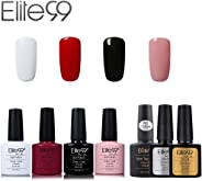 Elite99 Esmalte de Uñas Semipermanente Uñas de Gel UV LED Kit de Manicura 7pcs con Base Coat Top Coat de Brillo y Top Coat de