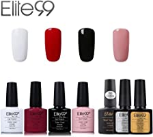 Elite99 Esmalte de Uñas Semipermanente Uñas de Gel UV LED Kit de Manicura 7pcs con Base Coat Top Coat de Brillo y Top...