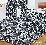 Doppelbett Camouflage Schwarz Komplett-Set (/Bettbezug & Kissen & Valance Spannbettlaken), Army Print, schwarz/grau/weiß