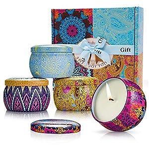 MMTX 4 Stück Duft Kerzen Geschenke Set fur Damen,Natürliches Wachs Aromatherapie Kerze zum Yoga Büro Vatertag Muttertag Valentinstag Weihnachten Geburtstag Geschenk für Freunde Stressabbau
