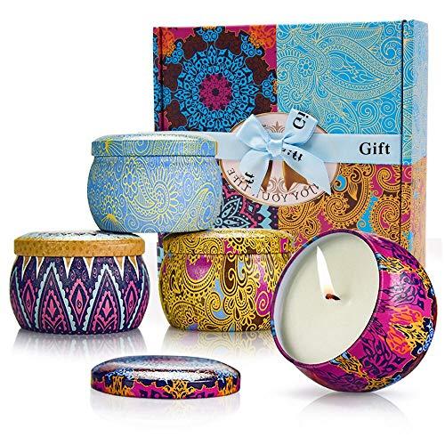 Yansion 4 Stück Duftkerzen Geschenkset,natürliches Wachs Aromatherapie Kerze Rose Zitrone Lavendel Feige für Entspannung und saubere Luft,ideal für Bad Geburtstag Yoga Jahrestag und Damen Geschenke -
