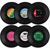 homEdge Vinyl Record Coasters, 6 Stuks Retro Stijl Vinyl Coasters