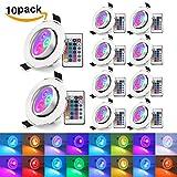 [10 Stück] Dimmbar LED Einbaustrahler 16 Farben XJLED 5W IP23 LED RGB Deckeneinbaustrahler 4 Farbprogramme mit IR-Fernbedienung Spot für Wohnzimmer, Schlafzimmer, Küche, Esszimmer, Ausstellungsraum