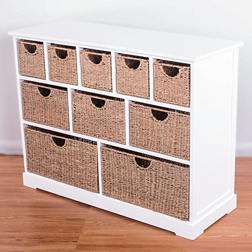 10 Drawer Baskets White Wide Functional Wooden Hyacinth and Seagrass Baskets Cabinet Storage Unit ... & 10 Drawer Baskets White Wide Functional Wooden Hyacinth and Seagrass ...