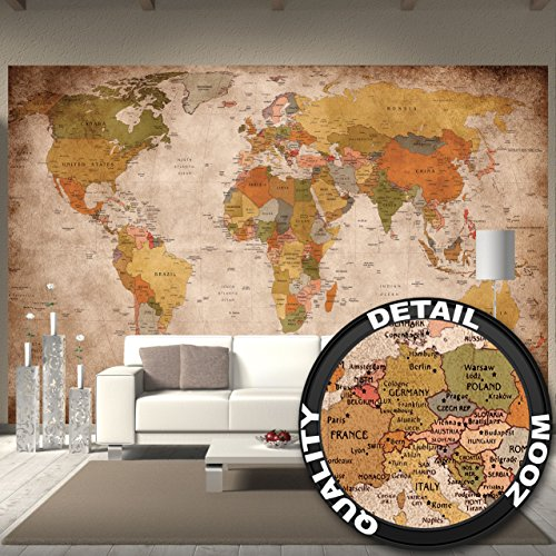 Foto mural used look - decoración Globo continete Atlas mapa mundial retro old school vintage map globo mundiall Geografia optik usado I foto-mural foto póster deco pared by GREAT ART (336 x 238 cm)