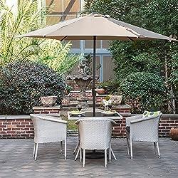 Grand patio Sombrilla Terraza Patio Jardín Piscina Ø 270 cm Impermeable Protección Solar Parasol de Aluminio con Manivela Ventilación Superior, Color Beige