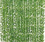 12 Stk künstlich Efeu Girlande (Jede Länge ca. 2 m) Garland Laub Grüne Blätter Gefälschte Hängende Reben Anlage für Hochzeit Garten Wand Dekoration