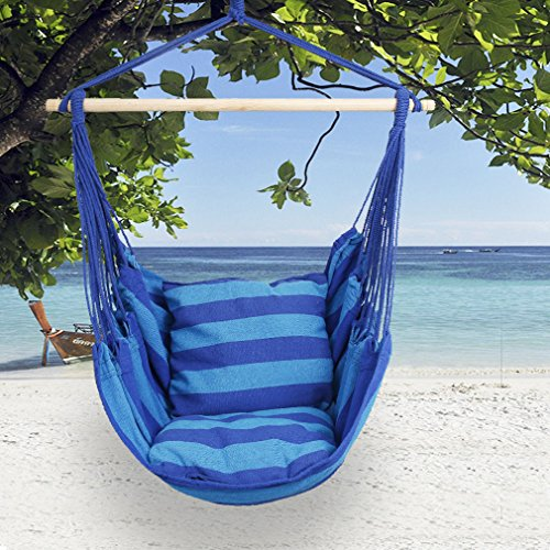 Holifine Hängesessel Garten Hängestuhl mit 2 Kopfkissen + Querstrebe Hängesitz Belastbarkeit bis 120kg, Blau
