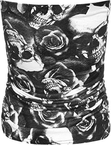 WearAll - Animal aztèque imprimé bustier bandeau top ruché sans bretelles - Hauts - Femmes - Tailles 36 à 42 Crâne Rosas