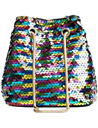 Vodool Shining Sequin Mini Bucket Bag Women Chain Crossbody Messenger Shoulder Bag