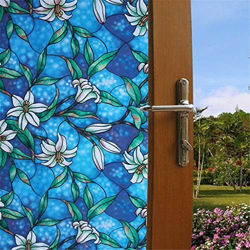 hahuha Toy PVC Lily statische Fensterfolie Kein Kleber abnehmbare Glasmalerei Aufkleber -
