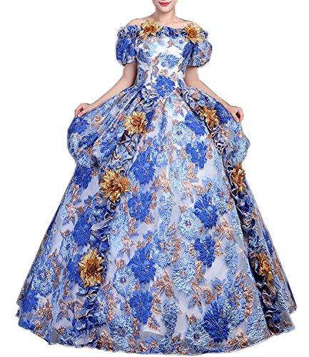 Damen Viktorianisches Kleid Renaissance mittelalterliche Maxi Kostüm Halloween (38, (Antoinette Marie Kostüm Kleid)