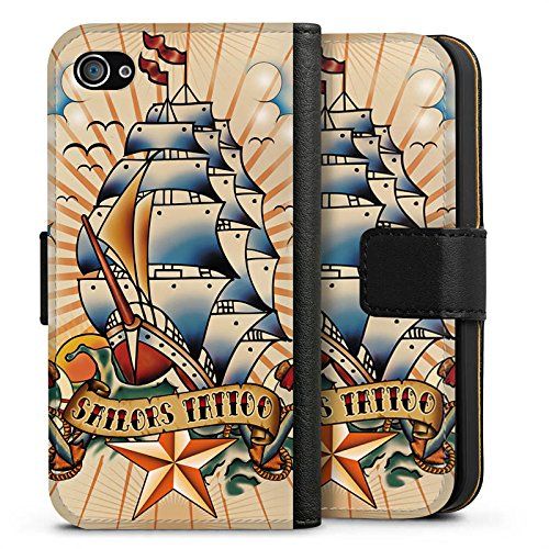 Apple iPhone X Silikon Hülle Case Schutzhülle Schiff Anker Sterne Sideflip Tasche schwarz