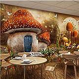 Wandtuch Cartoon Pilz Haus Schmetterling Blume 3D Fototapete Für Kinderzimmer Restaurant Cafe Wanddekoration Wandbild,260X180Cm (102,36X70,87 In)