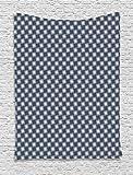 ABAKUHAUS Floral Décoration Murale, Ornement Japonais De l'est, Pas de décoloration, 110 x 150 cm, Gris Anthracite Bleu Foncé Blanc
