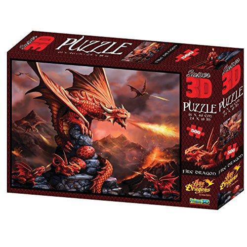 Rompecabezas con Efecto 3D de dragón de Fuego Anne Stokes, 500 Piezas