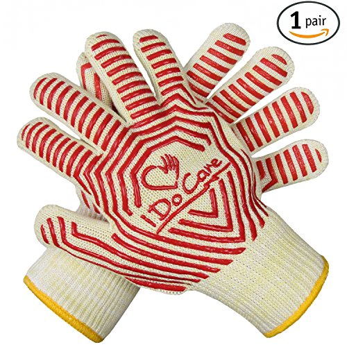 idocare Extreme hitzebeständig Ofen Handschuhe, EN407zertifiziert BBQ Handschuhe mit Rutschfeste Silikon, Ofenhandschuhe, Kamin Grips, Handschuh Topflappen–Beste für Grillen, Backen, Kochen, Camping