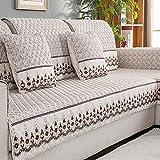 Short plüsch Anti-rutsch Sofa-Überwürfe, Möbel Protector Sofa dämpfung Europäischer Stil Sofabezug, Sofa Handtuch Für 1 2 3 4 Sofas Kissen-Beige 70x240cm(28x94inch)