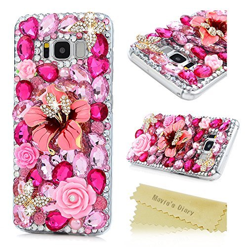 Galaxy S8 Fall, Samsung Galaxy S8 Fall 3D Handmade Bling Colorful Diamonds mit glänzend Sparkle Strass Gems Kristall Klare Full Body Schutz Hard PC Case Cover by Mavis 's Diary, Champagne (Herren Kostüme 2017 Diy)