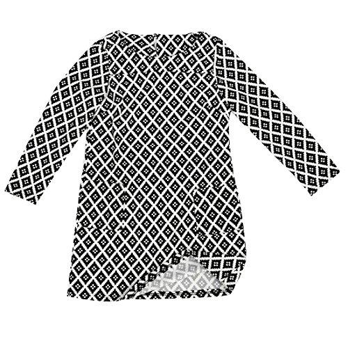 SODIAL(R) Robe retro de loisirs du style eoropeen a Manchons longues du motif imprime de semi-saison pour femmes - Couleur 01, L 20