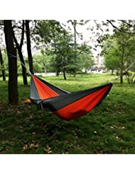 Nalmatoionme Outdoor Voyage Camping en nylon Tissu Hamac (Orange et gris)