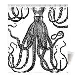 Violetpos Duschvorhang Schwarz und Weiß Octopus Hochwertige Qualität Badezimmer 180 x 200 cm