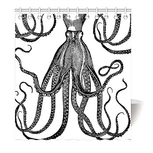 Violetpos Duschvorhang Schwarz und Weiß Octopus Hochwertige Qualität Badezimmer 180 x 200 cm (Jacket Kapuze Bubble)