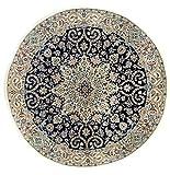 Morgenland Teppiche 210 x 210 cm Orientteppich Blau Rund Handgeknüpft Medaillon