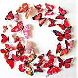 12 x 3D BDM Stickers Papillons Décoration murale Butterfly Wall decor Schmetterling Wanddeko-rouge
