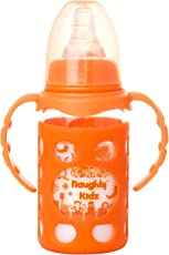 NAUGHTY KIDZ Premium Borosilicate Handy Glass Bottle with Ultrasoft LSR Nipple||Silicone Bottle Warmer||Easy to Hold Handle||Key TEETHER||Hood RETAINING Cap and Sealing DISC Ring - 125ML (Orange)