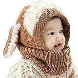 Tongshi Invierno del bebé Niños Chicas Chicos Caliente lana Cofia Capucha Bufanda Caps Sombreros(Caqui)
