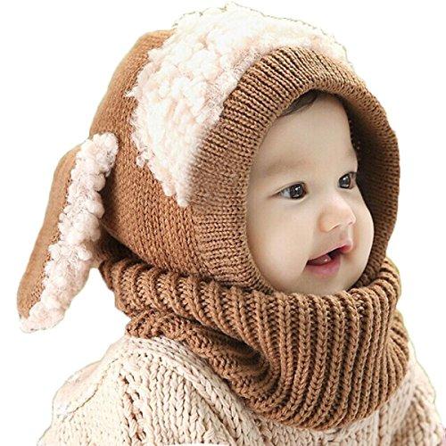 Tongshi Invierno del bebé Niños Chicas Chicos Caliente lana Cofia Capucha Bufanda Caps