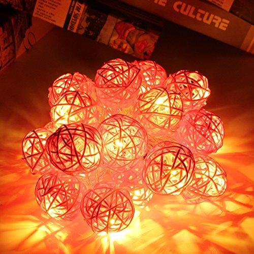 Happyit 3M 20pcs Led Rattankugel Lichterkette String Lights für Neujahr Weihnachts Dekoration Hochzeit Party Home Dekoration Lichter (Rosa)
