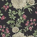 Rasch Bordeaux Blumen Muster Blumenmotiv Traditionell Metallische Tapeten - Schwarz Creme 208504
