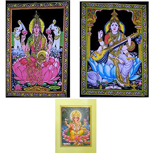 TELI DECORATIVI per parete in cotone motivo Saraswati / Lakshmi